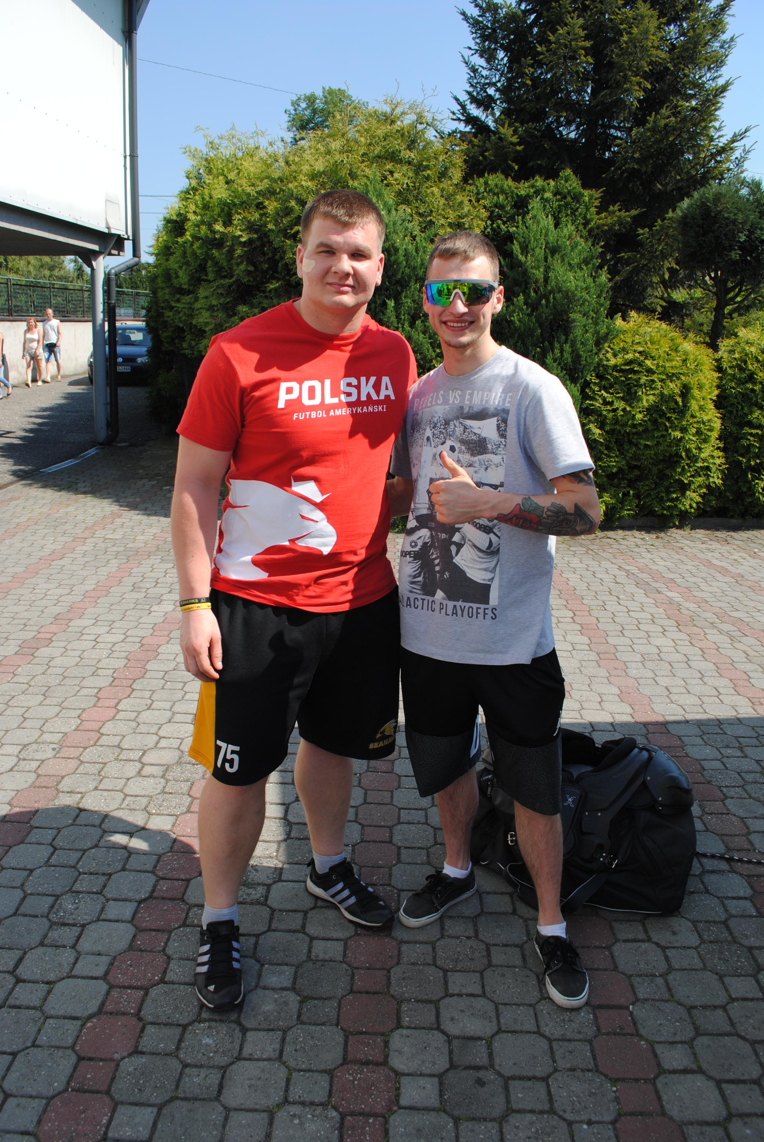 od lewej: Arkadiusz Cieślok - kapitan reprezentacji Polski w futbolu amerykańskim; Kacper Woryna - żużlowiec ROW Rybnik