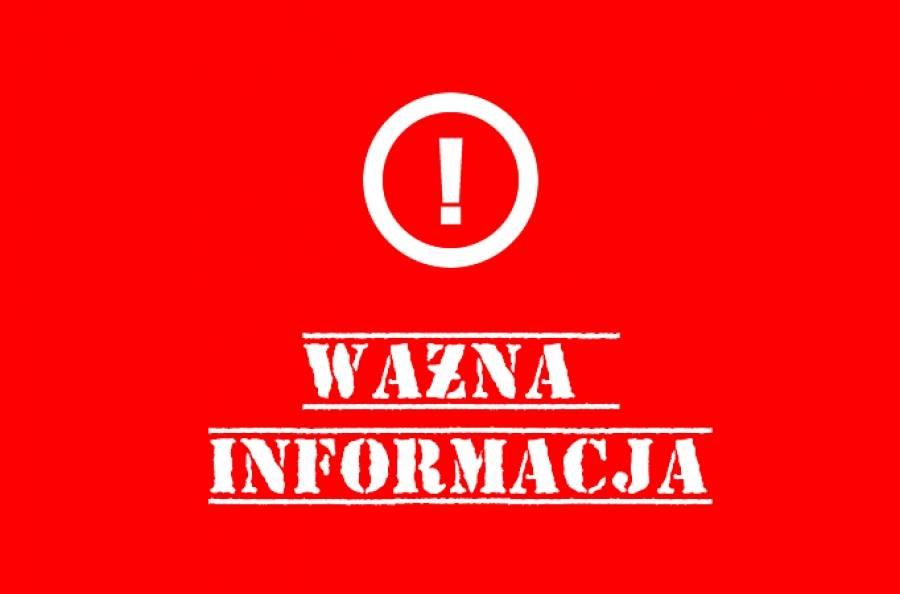 Czerwone tło - znak wykrzyknika i napis: Ważna informacja