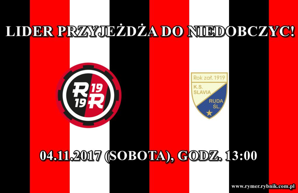 plakat reklamujący mecz KS Rymer - Slavia Ruda Śląska